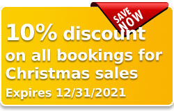 10% discount on all bookings for Christmas sale (expires 12/31/2019)
